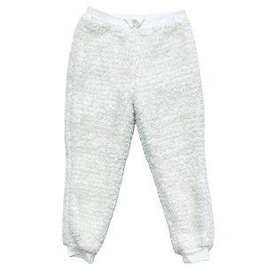 Okie Dokie White & Silver Plush Jogging Pants